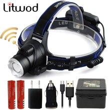 Litwod Z20 ИК-датчик XM-L2 U3 T6 5000лм светодиодные фары, налобный фонарь с регулируемым зумом, налобный фонарь с 18650 батареей, передний свет