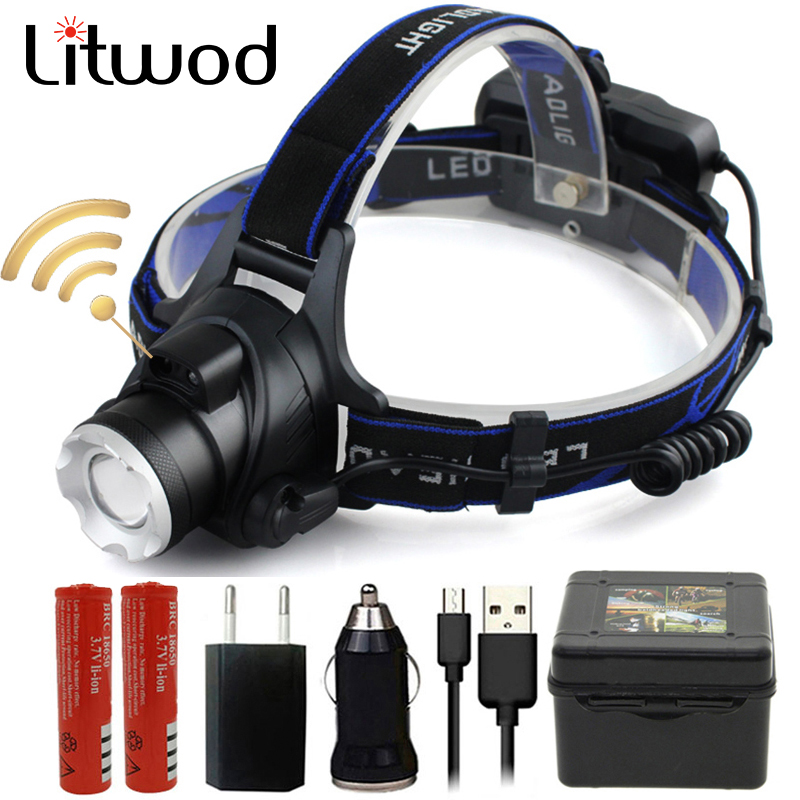 Litwod Z20 IR เซ็นเซอร์ XM-L2 U3 5000lm LED ไฟหน้าไฟหน้าซูมหัวไฟฉายปรับโคมไฟหัว 18650 แบตเตอรี่ด้านหน้าแสง