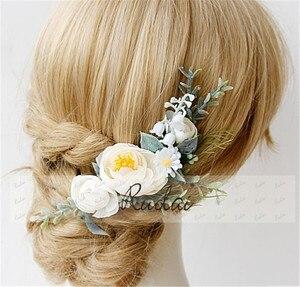 Image 4 - Boho Wedding Hair Accessories Woodland Flower Hair Comb Bridal Headwear Handmade Wedding Jewelry Headpiece Crown Women HD11