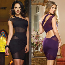 Custom Made 2016 Women's Sexy Charming Nightclub Bandage Dress One Shoulder Cut Out Mesh Evening Party Dress Clubwear