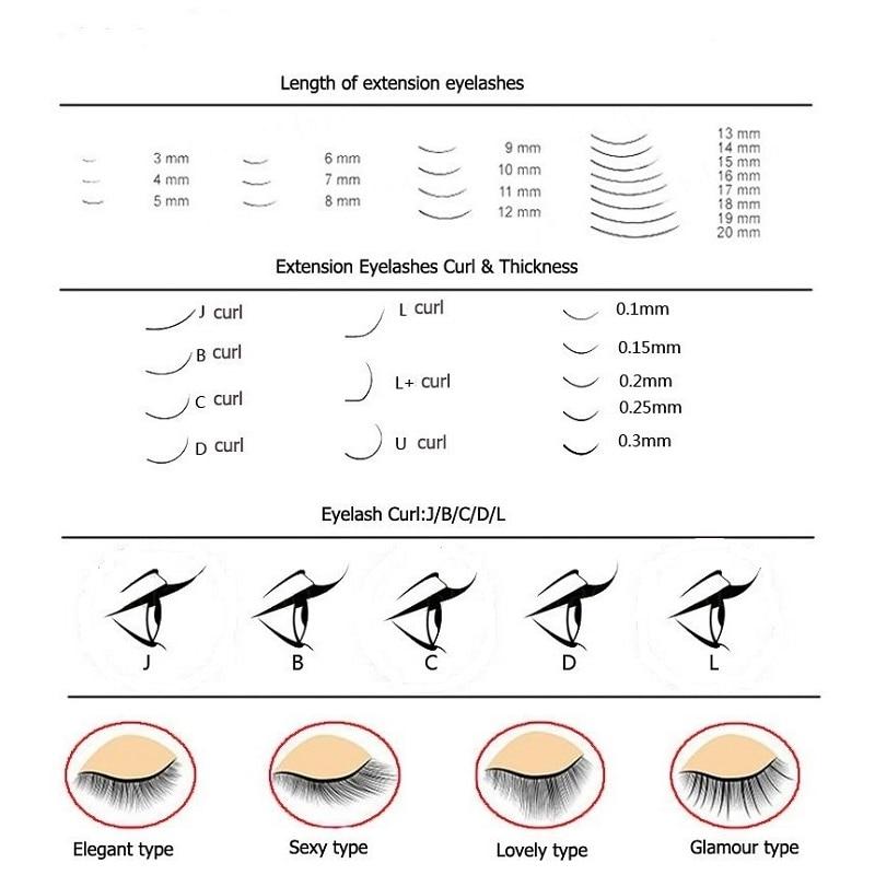 1st Eyelash Extension False Eyelash B / C / D / J Curl Mix Längd - Smink - Foto 6