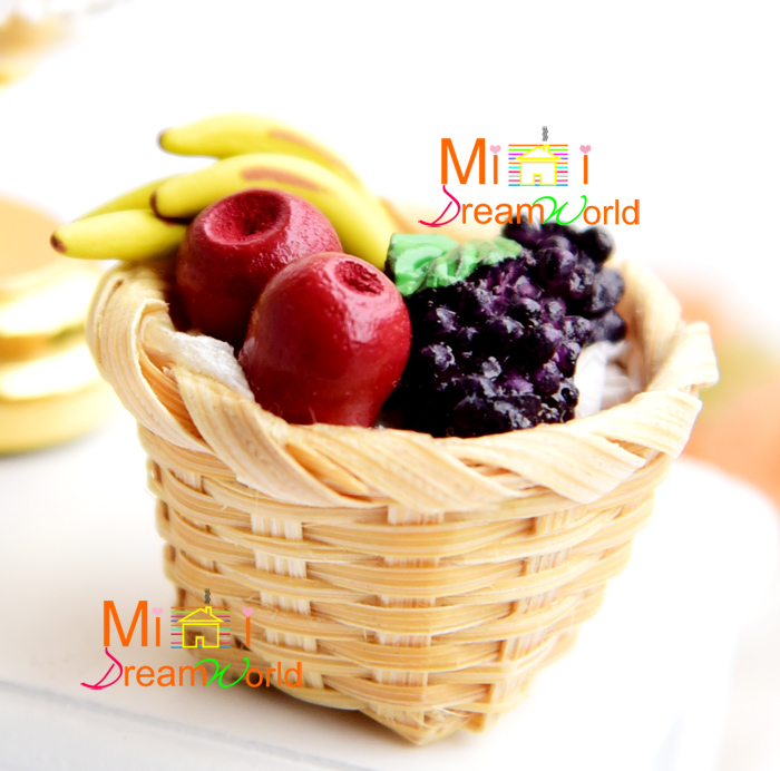 Mini dollhouse Mini Furniture Accessories Apple Banana Grapes Fruit Basket NEW