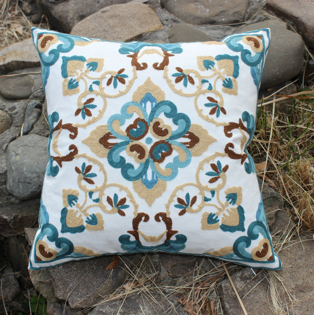 wholesale beige flower embroidery cotton cushions cover throw ...
