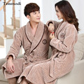 Nightgown Women Lovers Robe Winter Thickening Medium-Long Velvet Coral Fleece Men Couple bathrobe