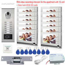 SUNFLOWERVDP 12 Unit Rfid Phone SD Card Color Home Intercom