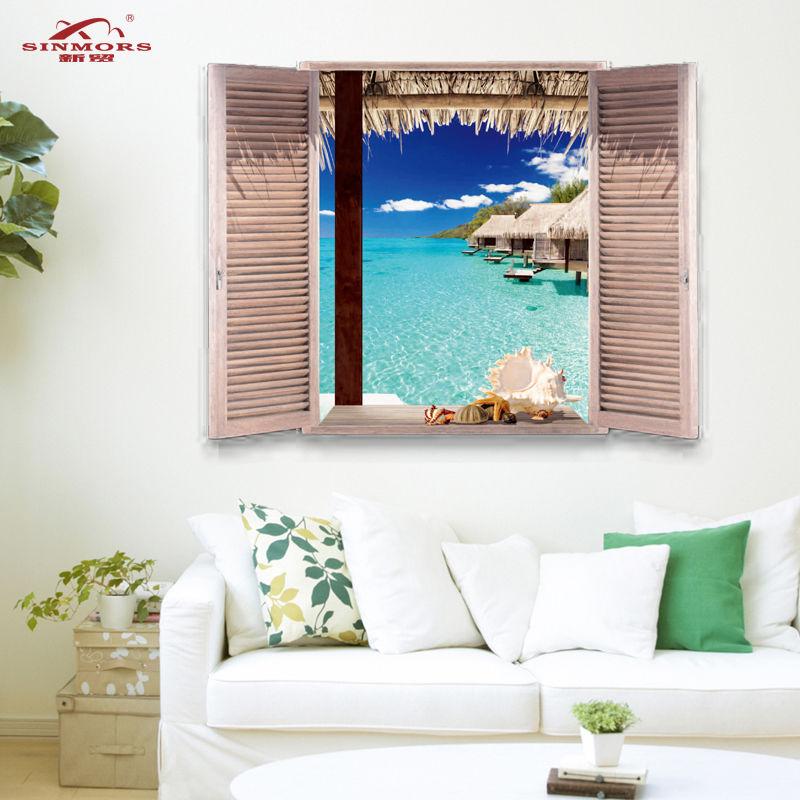 Maldives Ocean Beach Wave Wall Art Stickers Mural Decal Room Decor Fake window