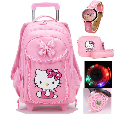Hello kitty trolley school bags for girls cartoon children backpack with wheels teenage school bags women mochila infantil bolsa hello kitty children school bags mochilas kids backpacks with wheel trolley luggage for girls backpack mochila infantil bolsas