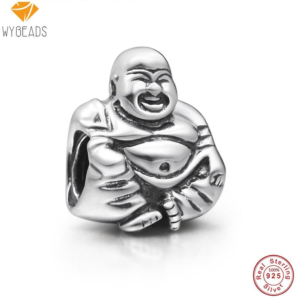 WYBEADS 925 Sterling Silver Charms Maitreya Buddha European Bead For Snake Chain Bracelet Original Jewelry Making