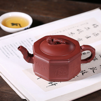 all handmade quality household Fang Qi teapot undressed ore bottom groove bamboo pot of eight square bamboo section