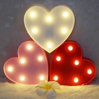 3 색상 심장 모양의 사랑 요정 밤 빛 ABS 플라스틱 램프 침실 분위기 웨딩 장식 파티 호의 홈
