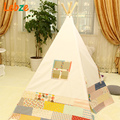Four Poles Indian Play Tent Patchwork Children Teepees Kids Tipi Tent Cotton Canvas Teepee White Play House for Baby Room