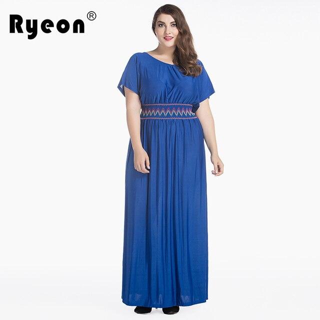 65afb0bb3ccaa US $38.9 |Ryeon Autumn Summer Beach Maxi Dress Women Plus Size Blue Black  Sexy Tunic Short Sleeve Long Robe Femme Ete 2017 Clothing 6xl-in Dresses ...
