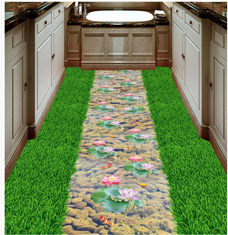 3d floor painting wallpaper Lawn Creek carp Lotus bathroom kitchen walkway 3d flooring pvc self-adhesive wallpaper free shipping flooring custom living room self adhesive photo wallpaper wonderland lotus pool 3d floor thickened painting flower