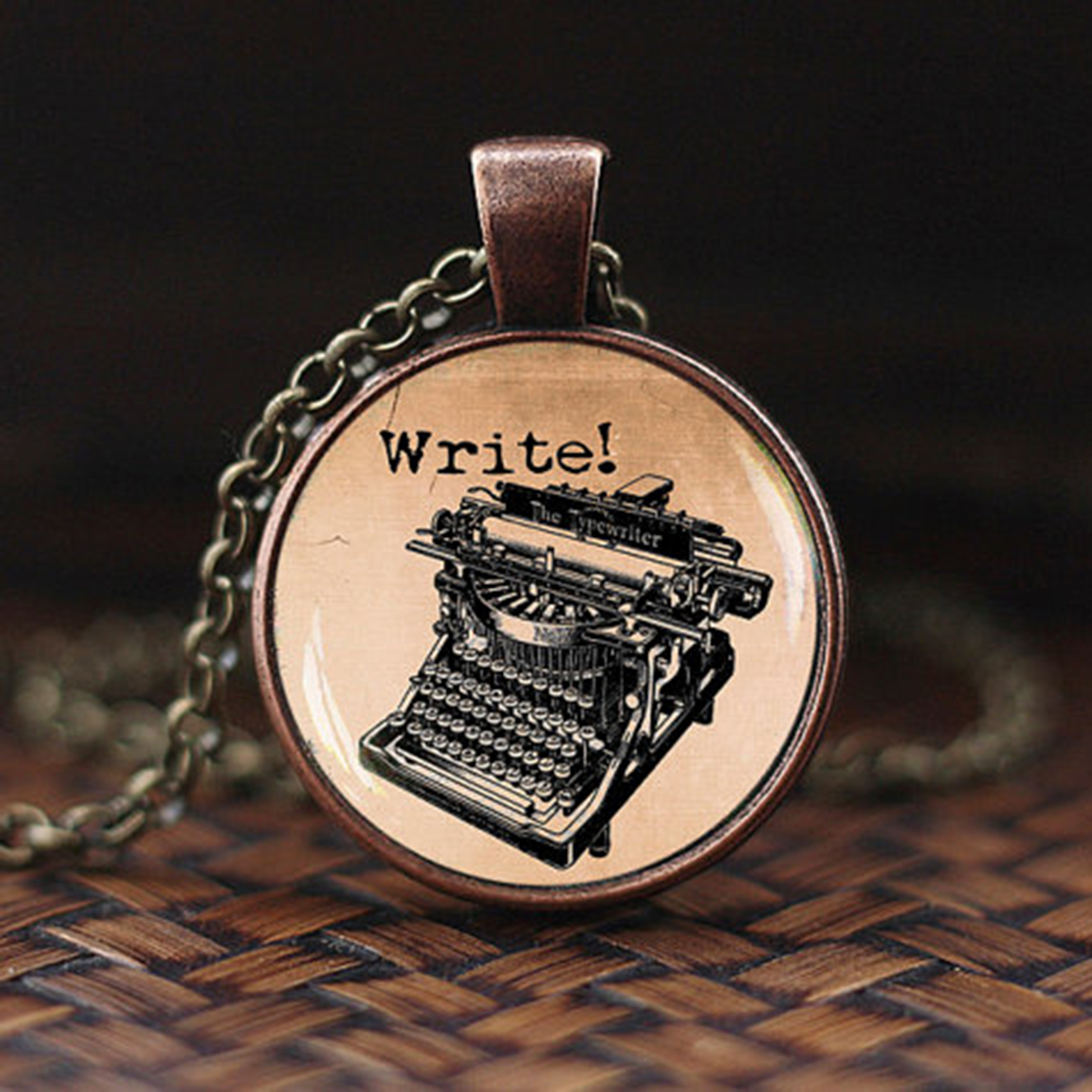 Family Decor Vintage Typewriter Pendant Necklace Cabochon Glass Vintage Bronze Chain Necklace Jewelry Handmade