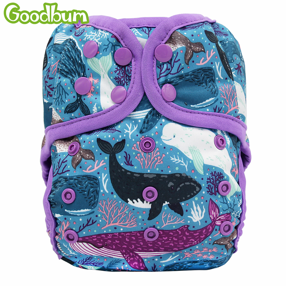 Goodbum 1PC Adjustable Whale Print Cloth Diapers Cover Double Gusset Reusable Nappy Fit For 3-15KGS