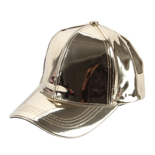 Winfox Fashion Women Mens Shiny Gold Laser Metallic Leather Baseball Caps Snapback Hip Hop Hats