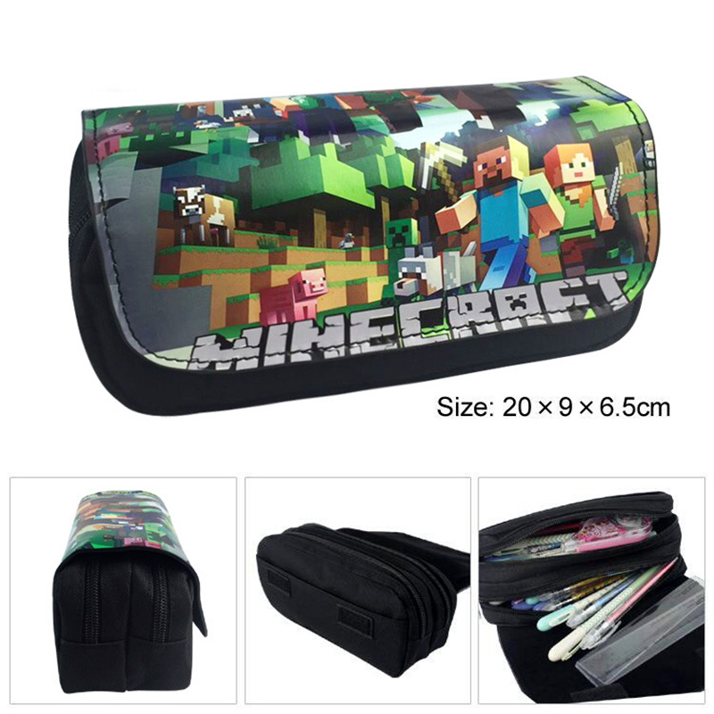 Multifunción creativo Minecraft lápiz escuela lápiz bolsa Kawaii mi mundo lápiz Oficina papelería lindo