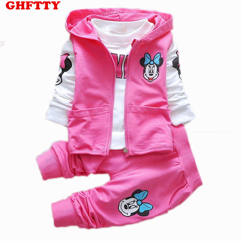 Kids Clothes Minnie Mouse Arrival Girls Clothing Set 3pcs/set Baby Casual Cotton Suit Long Sleeve T-shirt+Coat+Pant Tracksuits simba пупс minnie mouse