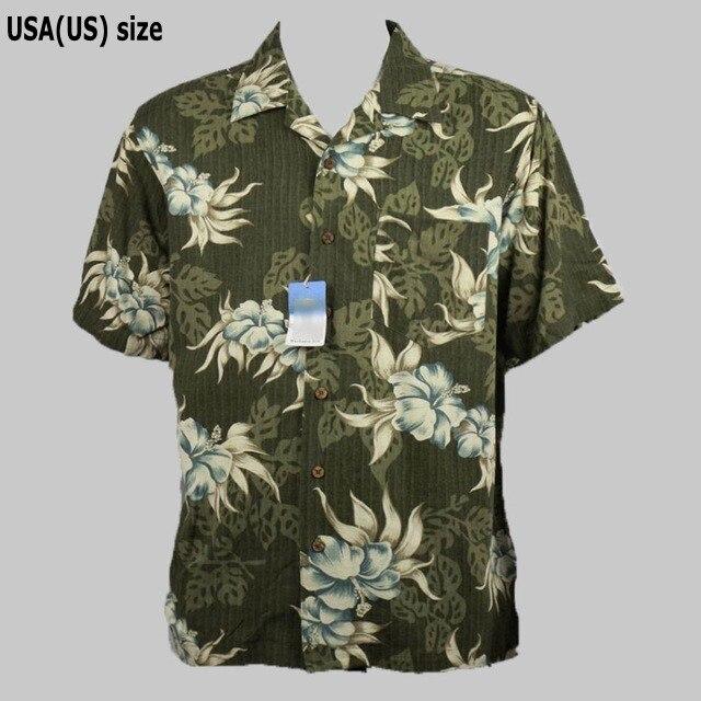bf0afcb2 Plus Size Men's Shirt 100% Silk Hawaiian Mens Casual Shirts Summer Coconut  Tree Floral Print Vintage Single Pocket Short Sleeve-in Casual Shirts from  Men's ...