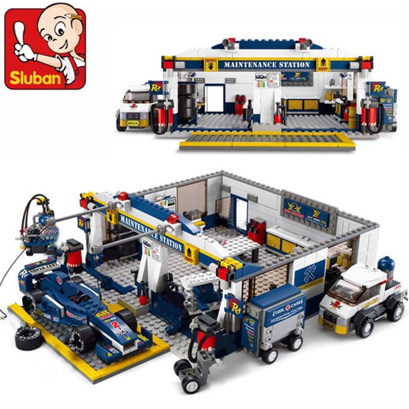 Classic Sluban Building Blocks F1 Racing Combination Model Assembly Blocks Plastic DIY Bricks Toys For Children Gift