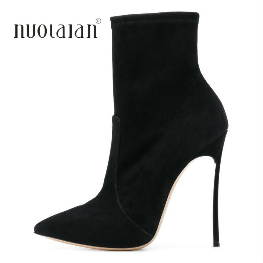 купить Women Boots Stretch Fabric Suede Ankle Boots For Women Pointed Toe High Heel Shoes Woman Autumn Winter Boots high heels Boots