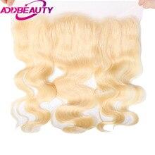Addbeauty Brailian Для тела wavevirgin волос 613 # блондинка 13*4 Накладные пряди на кружеве для передней части головы 130% плотность предварительно сорвал с для маленьких Salon