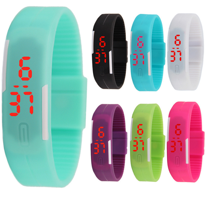Fashion Silicone wristband Waterproof Sports LED electronic bracelet watch for children's student couple Digital Wristwatches