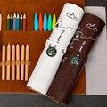 Ретро кожаная сумка для карандашей  Студенческая лаконичная креативная коробка для канцелярских принадлежностей  большая емкость  сворачи...