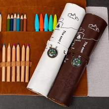 Retro leather Pencil Bag Student's Concise Creative Stationery Box Large Capacity Roll up Curtain Color Recept
