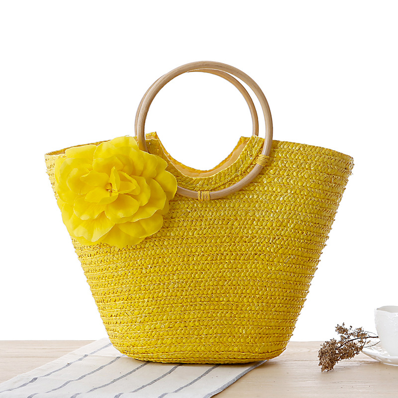 Rattan Bag Handbags Bucket-Bag Totes Large-Shoulder Beach-Woven Summer Women's Ladies