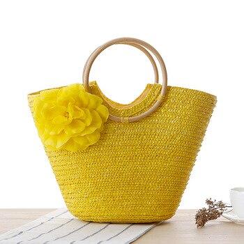 2019 Summer Rattan Bag Beach  Woven Handmade Straw Bag Large Shoulder Totes  Women's   Bucket Bag Ladies Travel Handbags