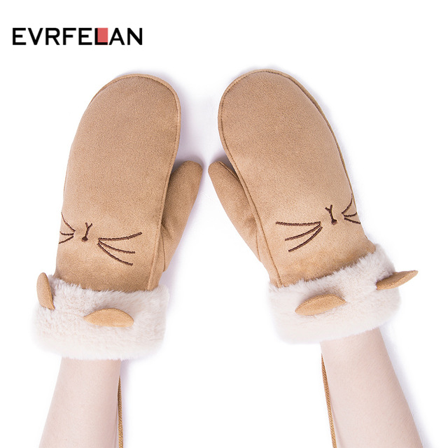 Evrfelan Warm Winter Gloves For Girls Thick Mittens Plus Velvet Solid Color Hanging Neck Cotton Gloves Mittens Women Female