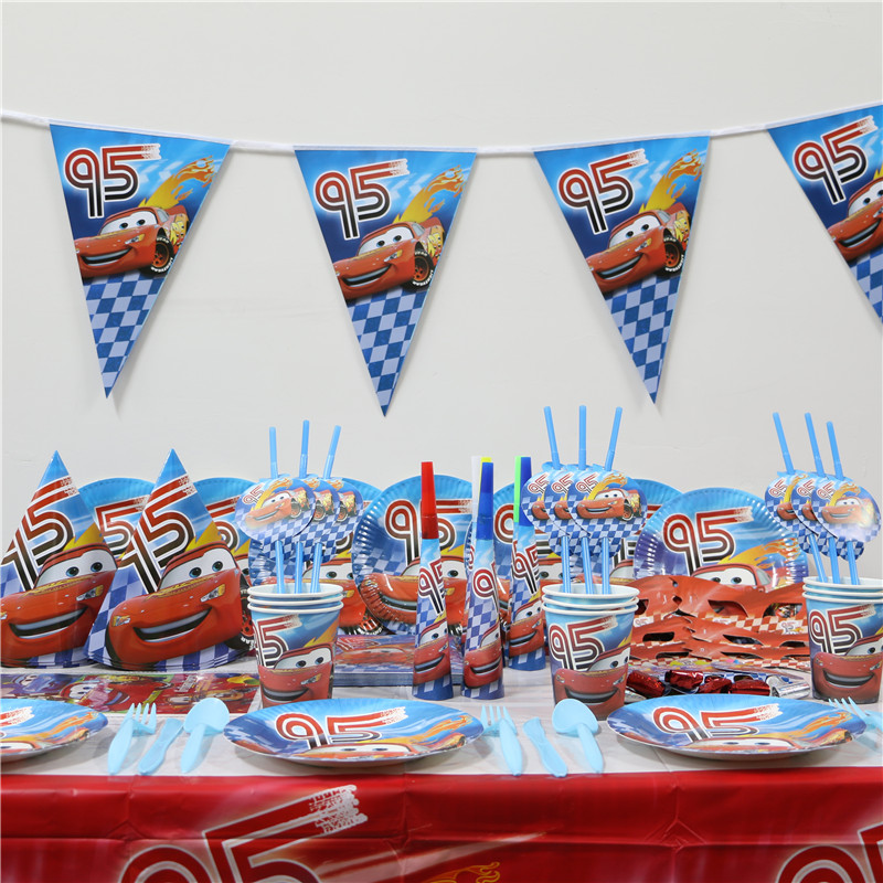 1pack 37pcs wholesale cartoon cars kids 1st birthday theme party supplies kids party decoration supplies for 4 people use - Party Decoration Stores