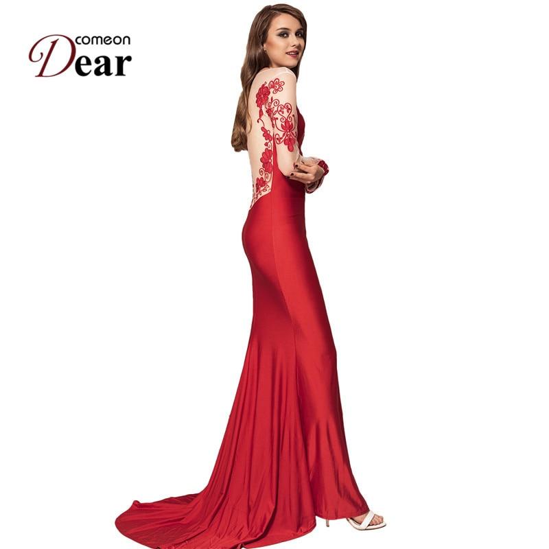 6f0a491d7a008 US $29.99 49% OFF|Comeondear Robe Longue Femme Ete Embroidery Party Gown  Dresses Long Sleeve Mesh Formal Vintage Dress Evening Vestidos De Festa-in  ...