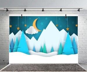Image 4 - Laeacco bebé Comics montaña Luna estrella nieve fiesta patrón fondos fotográficos foto telón de fondo estudio fotográfico Photocall