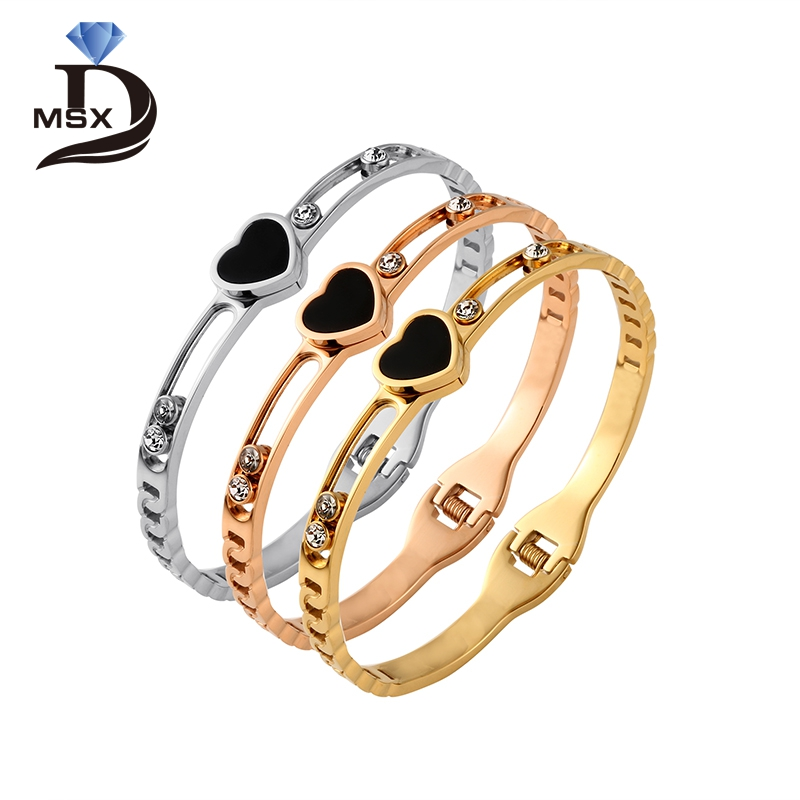 MSX 316 Stainless Steel Bangle Bracelet for Woman Man Gold Plating CZ Inlaid Hollowed-out Fashion Female Brand Jewellery Gift