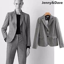 Jenny   Dave blazers mujeres 2018 Inglaterra estilo urbano solo botón negro  plaid muescas ocasional jackaet 6c2a9cffe3316