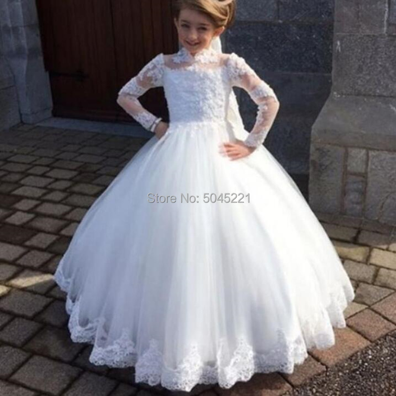 Flower Girl Dresses White High Neck Long Sleeve Lace Applique For Wedding Gown First Communion For Girls Pageant Dresses