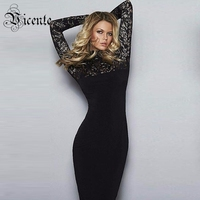 2017 New Free Shipping Graceful Flroal Lace Long Sleeves High Neck Midi Celebrity Party Women Wholesale