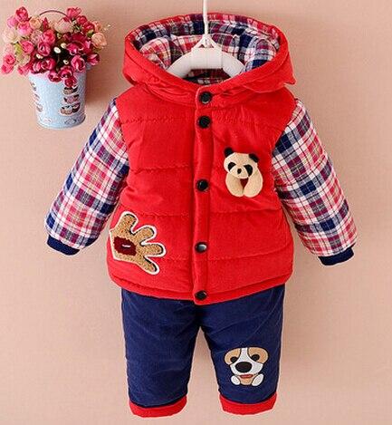 2016 new autumn/Winter baby boys lamb warm clothing set suit kid thickening clothes set children Korean 2 pieces