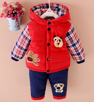 2016 New Autumn Winter Baby Boys Lamb Warm Clothing Set Suit Kid Thickening Clothes Set Children