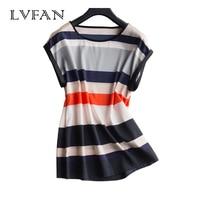 LVFAN 2018 Summer 92% Nature Silk T shirt Female Women's Short Sleeved Round Collar Stripes Loose Thin Real Silk Slim Tops Girl