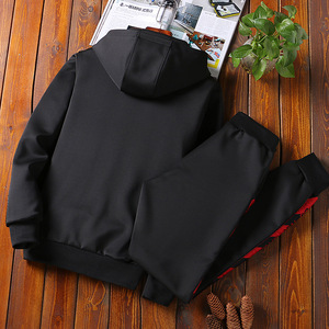 Image 2 - AmberHeard Men Sportsuit Set Spring Fashion Hooded Sweatshirt+Pants Sportswear Two Piece Set Tracksuit For Men Fitness Clothing