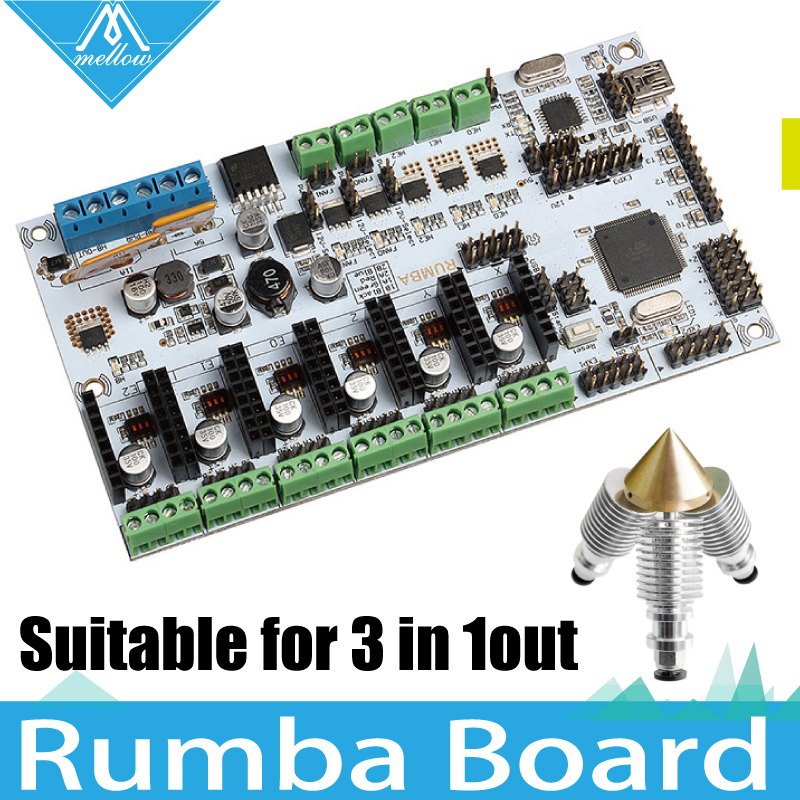 3D Printer Diamond Hotend Brass Multi Color Nozzle 3 IN 1 OUT Control Kits Mother Rumba Board based on ATmega's'AVR processor все цены