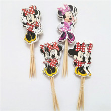 48pcs/lot Lovely Pink Cartoon Minnie Mouse Cupcake Topper Picks Kids Birthday Party Supply Wedding Decorations