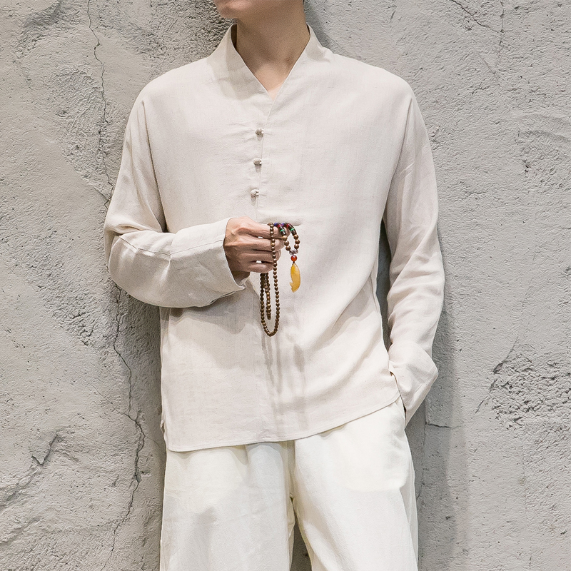 Men 2 PCS Sets (tshirt+pant) Male Chinese Style Cotton Linen Casual Pullover Tees Shirts KongFu Costumes Long Sleeve T shirt