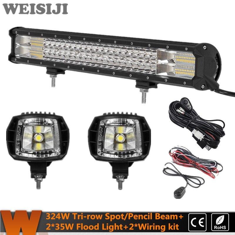 WEISIJI New Tri-row 324W LED Offroad Light Bar+2Pcs 35W Flood Beam LED Work Light+2Pcs Wiring Kit Set for Jeep Truck SUV ATV UTV