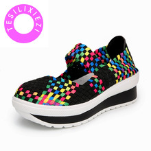 TESILIXIEZI Woven Shoes Women Summer Handmade Colorful Breathable Ladies Lazy Lightweight Increase Platform Female Casual