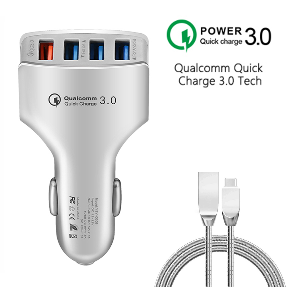 4 USB Ports QC3.0 Car Charger Quick Charge 3.0 Fast Charge For Iphone 6 S 7 8 plus SE for Samsung S6 S5 S4 mobile phones tablets