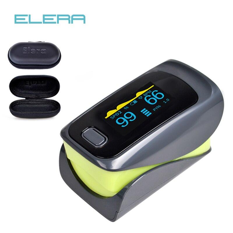 ELERA New Finger Pulse Oximeter With Pouch SPO2 PR PI Oximetro De Pulso Digital Blood Oxygen Saturometro Pulsioximetro